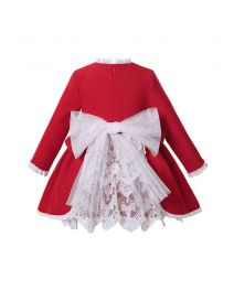(Pre-order products) Sweet Babies Christmas Red Ruffle Lace Dress With Ribbon Bows + Bonnet + Bloomers