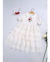 (ONLY 4Y) White Embroidery Doll Collar Communion Solid Party Layers Girl Long Dress With Headband