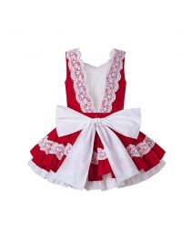 Red Embroidered Ruffled Lace Vintage Dress + Hand Headband