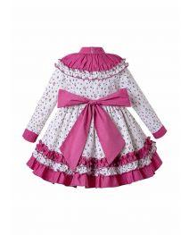 Autumn Girls Flower Print Ruffle Collar Girls Dress + + Hand Headband