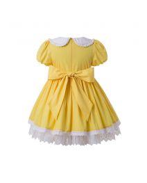 Summer Yellow Yarn Dyed Princess Pleate Girls Vintage Dress + Hand Headband