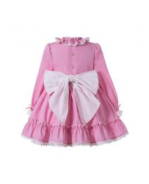 (Pre-sale Products) Girls Autumn Pink Ruffles Lace White Dot Princess Party Dress With Ribbon Bows + Hand Headband