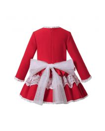 (Pre-order products) Sweet Autumn & Winter White Layered Lace Red Girls Christmas Dress + Headband