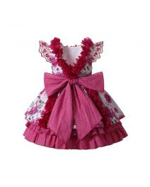Girls Rose Red Flowers Patterns Ornament Bows Ruffle Hem Dress + Handmade Headband