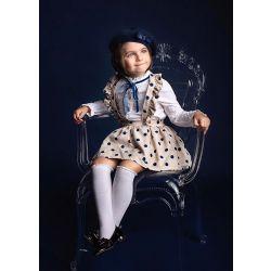 Girls Long Sleeve White Blouse With Blue Dot Khaki Skirt