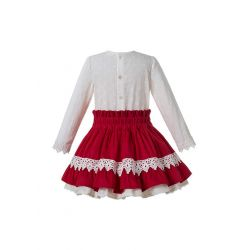 (Pre-sale Products) Autumn Gorgeous Girls White Lace Shirt With Bow + Red Boutique Skirt + Handmade Headband