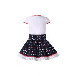 White V-neck Shirt with Lace trim and Black Flower Pattern Skirt College style + Headband