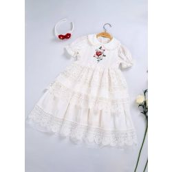 White Embroidery Doll Collar Communion Solid Party Layers Girl Long Dress With Headband