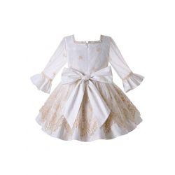 Summer Girls Boutique Khaki&White Square Collar Emboridery Floral Vintage Dress + Hand Headband