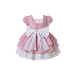 Pink Flower Yanrn Dyed  Square Collar Preppy Style Dress