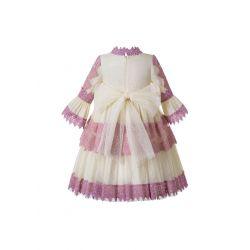 Gemometric Yarn Dyed Emboridery VintageGirls Dress + Hand Headband