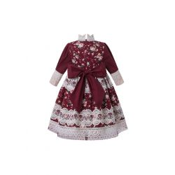 2020 Coral Red Girls Flower Embroidered Vintage Dress + Hand Headband