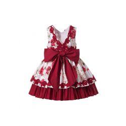 Boutique Summer Rose Flower Pattern Girls Princess Ruffle Dress + Hand Headband