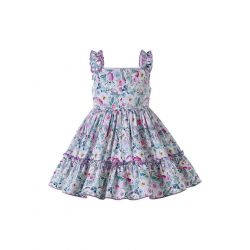 Girls Sweet Pink Bow and Purple tirm Floral Dresses + Headband