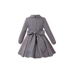 (Pre-sale Products) Girls Vintage Grey Christmas Tartan Asymmetrical Boutique Kids Dress With Red Flower + Hand Headband