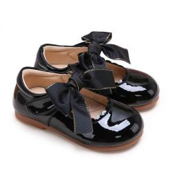 (Pre-sale Products) Black Microfiber Leather Girls Shoes With Handmade Bow-knot