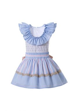Boutique Preppy Style Girls Ruffle Shirt + Princess Striped Skirt With Bows +Hand Headband