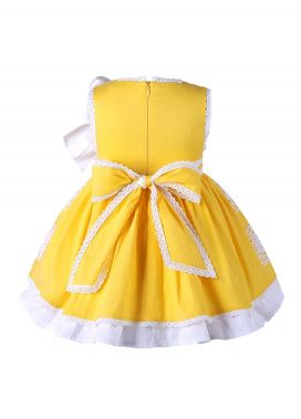 3 Pieces Babies Easter Yellow Cotton Dress +Bloomers + Cute Bonnet