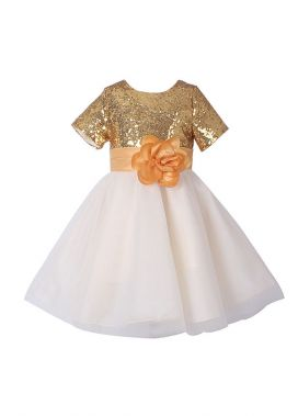 Girls Sequin Floral Belt Princess Dress