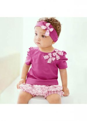 (ONLY For 2 Year Old ) Baby Girl Purple Clothing Sets Top + Pants + Headband