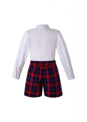 Christmas Autumn Boys Clothing Sets White Shirt + Red Grid Shorts