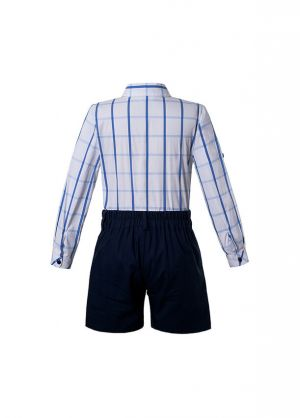 Boutique Summer Boys Clothing Sets Blue Grid Shirt + Black Shorts