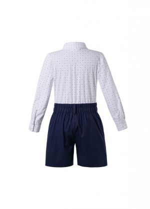 Boys Kids Clothing Boutique Summer Outfit White Polka Dot Shirt + Black Shorts