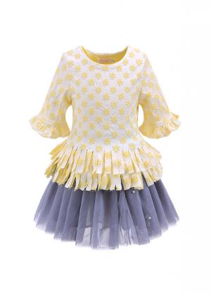 Butterfly Sleeves Yellow Girls Clothing Set