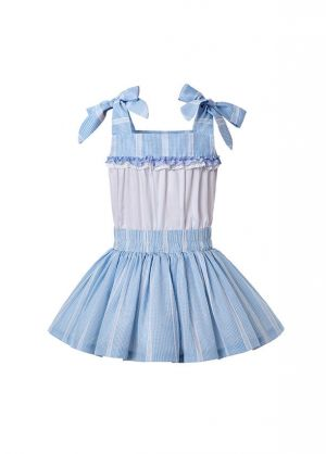 Summer Blue Matched Flower Girls Reffle Dress + Hand Headband