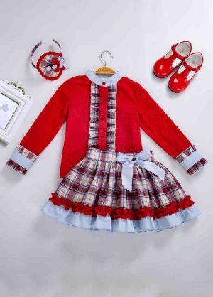 3 Pieces Girl Autumn Red Cut-Flower Cotton Top + Plaid Ruffle Skirt + Handmade Headband