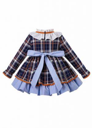 3 Pieces Babies Christmas  Blue Grid Autumn Dress + Bloomers + Hat