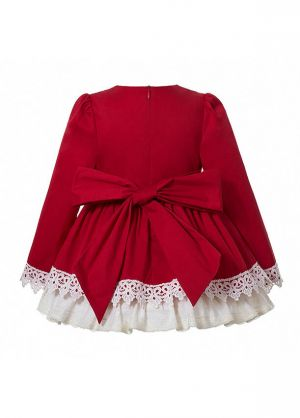3 Pieces Babies Christmas Girls Red Lace Appliques Princess Dress With Brown Vintage Bow + Bloomers + Hat