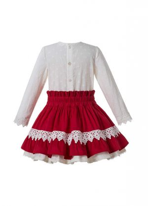 Autumn Gorgeous Girls White Lace Shirt With Bow + Red Boutique Skirt + Handmade Headband
