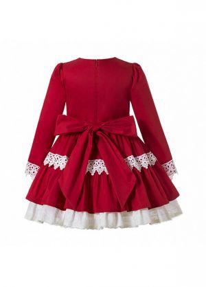 2020 Sweet Autumn Princess Red Layered Ruched Girls Boutique Dress + Handmade Headband