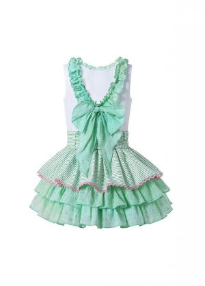 (Pre-sale Products) Summer Boutique Girls Ruffled White Shirt + Princess Layer Skirt +Hand Headband
