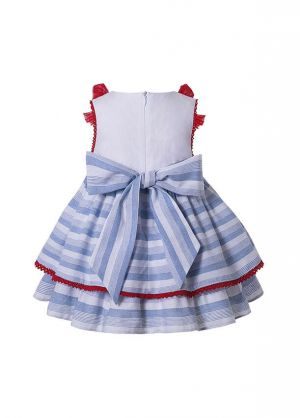 3 Pieces Babies Summer Lace Preppy Style Dress With Bows + Cute Bloomers + Hat