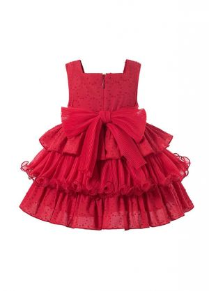 3 Pieces Babies Boutique Embroidery Red Ruffled Layers Dresss + Cute Bloomers + Hat
