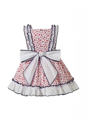 3 Pieces Babies Sweet  Princess Ruffles With Cute Bows Outfit + Pink Floral Print Bloomers + Hand Headband