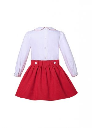 (Pre-order products) Boutique Girls Doll-Collar White Shirt + Red Princess Skirt +Hand Headband