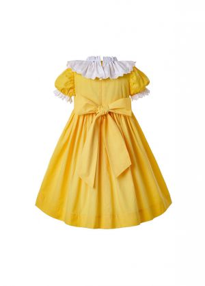 Easter Princess Printed Summer Yellow Doll Collar Smocked Party Girls Dress + Handmade Headband