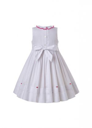 Spring & Summer White Ruffled Vintage O-Neck Smoked Dress