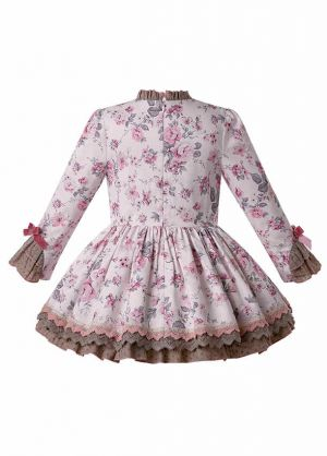 Autumn Boutique Kids Girl Flower Ruffle Velvet Bow Dress + Hand Headband