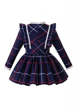 Girls Blue Grid School Uniform Style Bow Boutique Kids Dress + Hand Headband