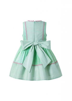 (Pre-sale Products) Girls Green Striped Plain Dyed Preppy Style Summer Boutique Dress With Bows + Hand Headband