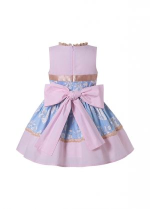 Summer Girls Pink Ribbons Bows Print Sweet Princess Dress + Hand Headband