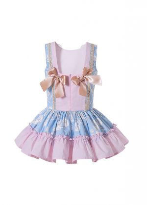 Pink Girls Ribbons Bows Print Boutique Princess Dress + Hand Headband