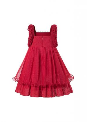 Sweet Girls Summer Plain Dyed Red Lace Princess Dress + Hand Headband