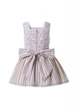 Ivory Square Collar Ruffle Flowers Princess Girls Dress + Hand Headband