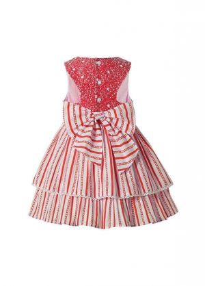 Red Striped Sweet Girls Pearls Ruffles Layered Dress With Flowers+ Hand Headband