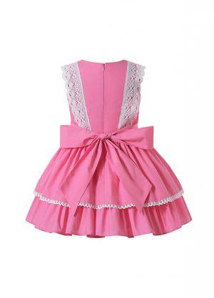 Summer Girls Sweet Coral Pink Garment Dyed Ribbon Bows Layered Dress + Hand Headband